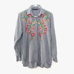 Zara Woman Small Embroidered Floral Plaid Shirt
